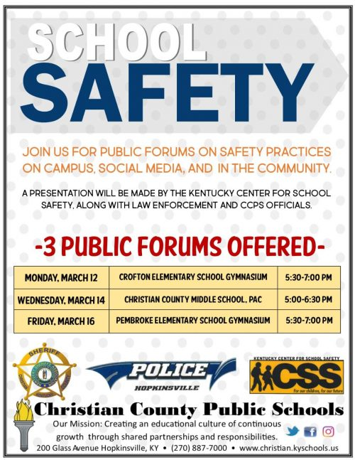 CCPS to host forums on school safety in March