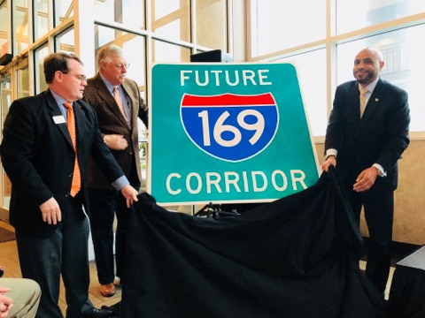 Future I-169 corridor sign unveiled