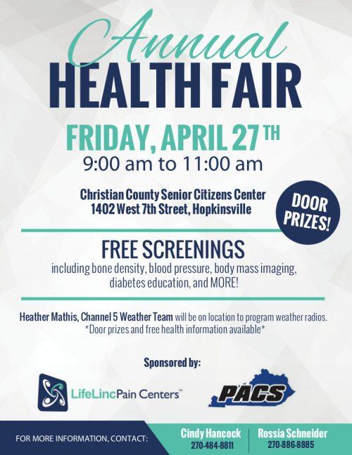 Health fair coming up Friday