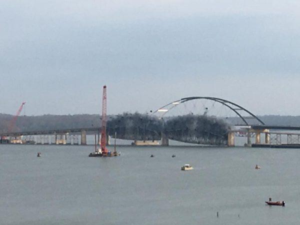 Old Lake Barkley Bridge blown up