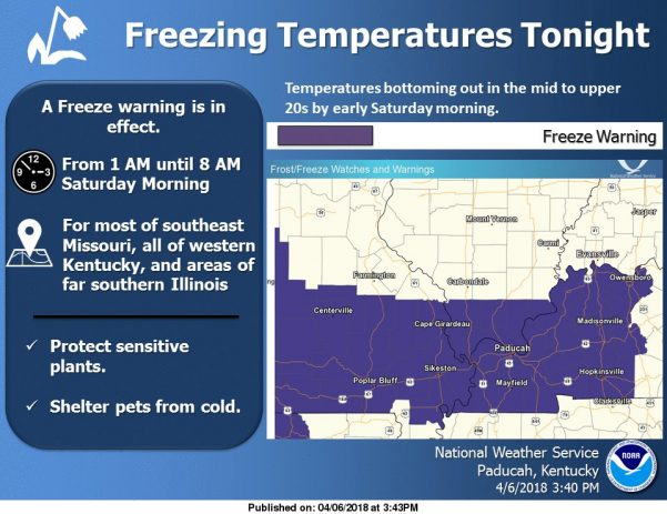 Winter Weather Advisory/Freeze Warning Saturday morning