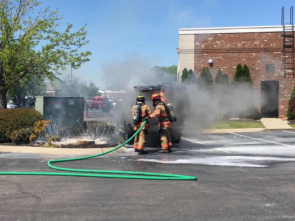 Vehicle damaged in fire at O'Charley's