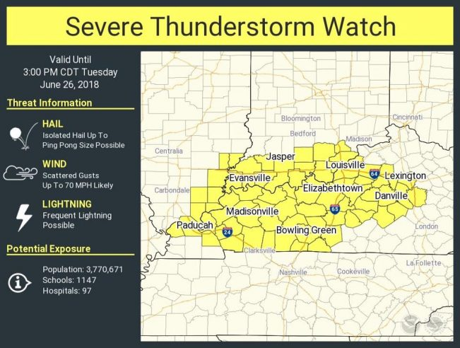 Severe Thunderstorm Watch until 3 p.m. Tuesday
