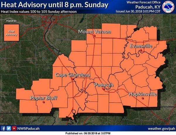 Heat Advisory until 8 p.m. Sunday