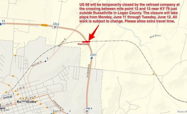 Logan Co. US 68 railroad crossing to close two days