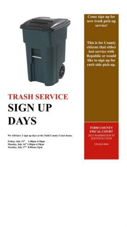 Sign-up days being held for Todd Co. trash service