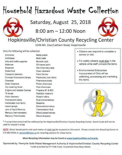 Household hazardous waste collection is Saturday