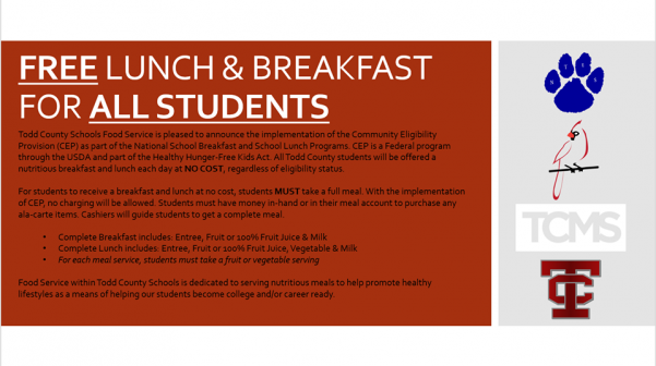 All Todd Co. schools to offer free breakfast and lunch