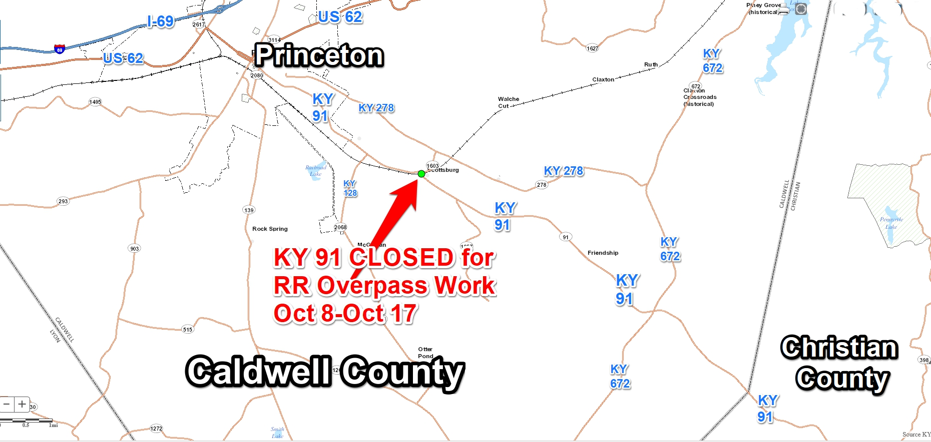 KY 91 in Caldwell Co. to close at RR overpass next week