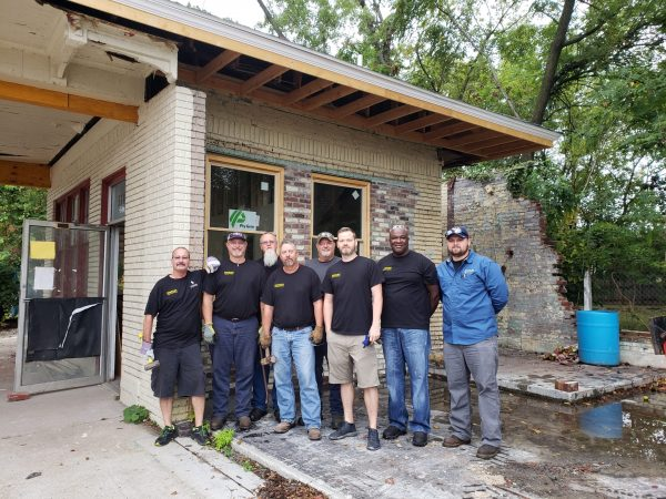 Volunteers from Stanley Engineered Fastening continue efforts downtown