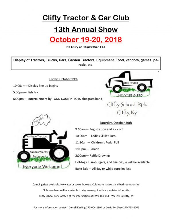 Clifty Tractor and Car Club 13th Annual Show