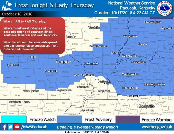 Frost Advisory issued for Thursday morning