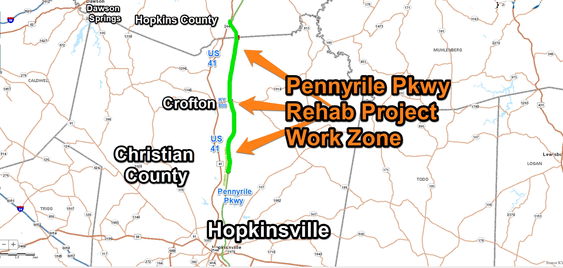 Traffic shift set for Parkway work zone Friday