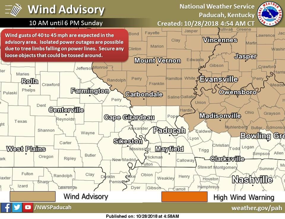 Wind Advisory for Muhlenberg, Hopkins counties Sunday