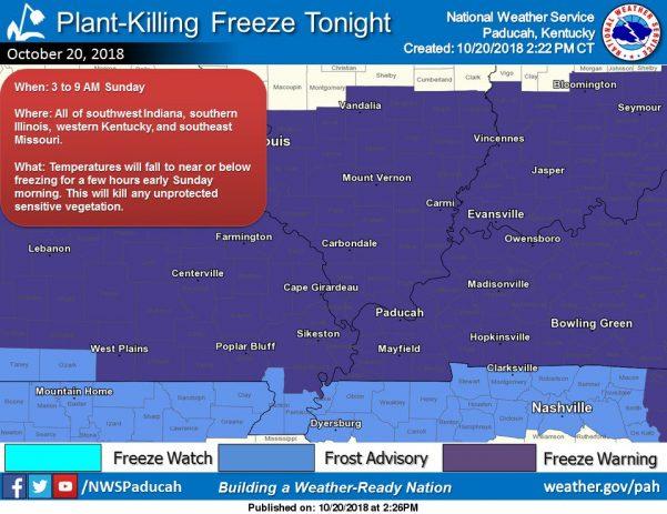 Freeze Warning Sunday morning