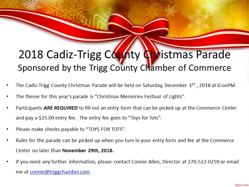 Cadiz-Trigg County Christmas parade entry deadline coming up