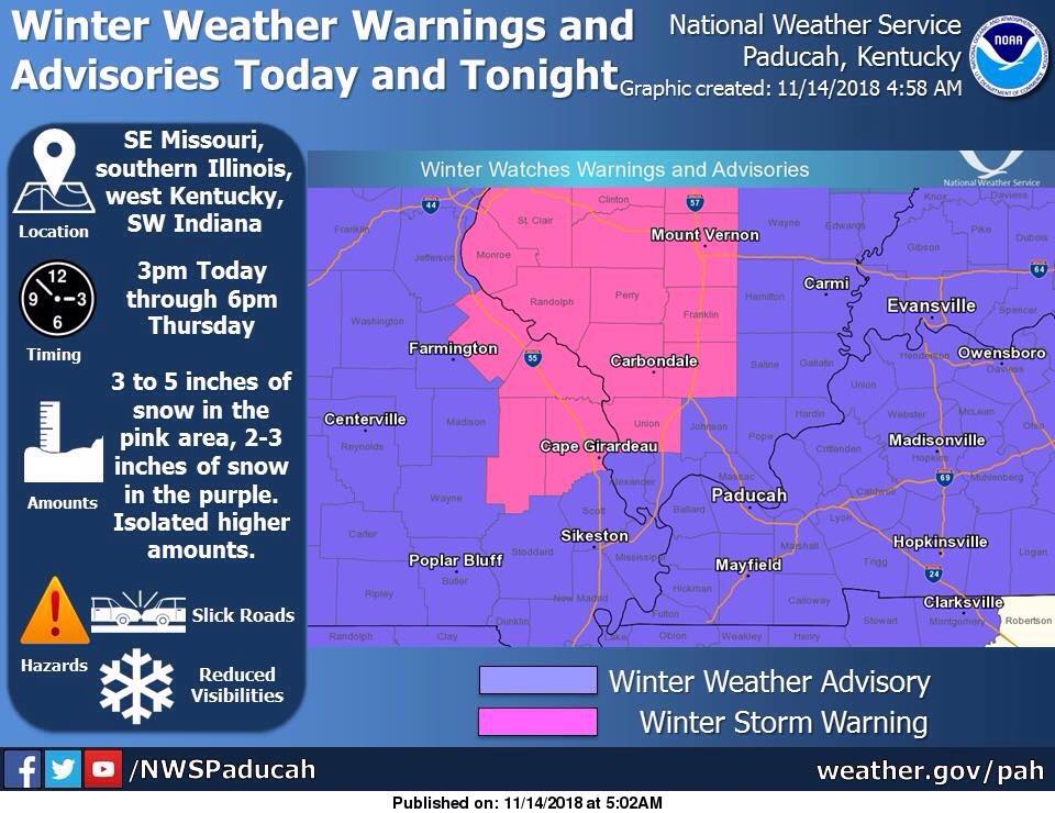 Winter Weather Advisory from 3 p.m. Wednesday through 6 p.m. Thursday