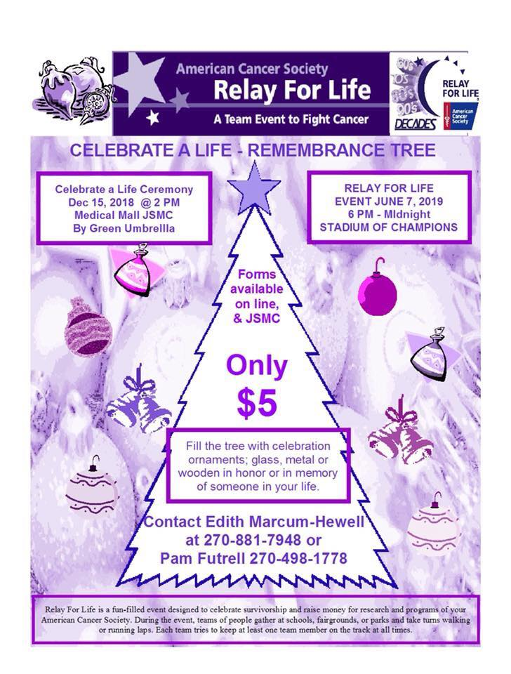 Relay for Life Remembrance Tree Ceremony Saturday