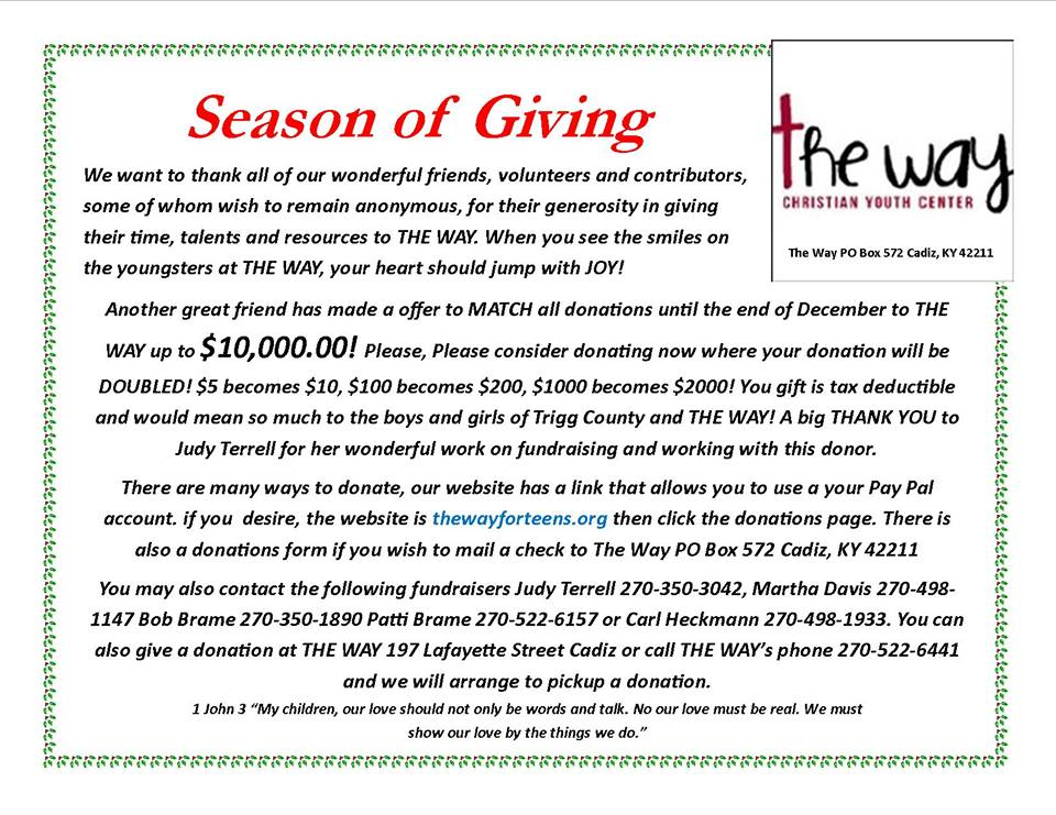 Season of Giving fundraiser underway for The Way Youth Center
