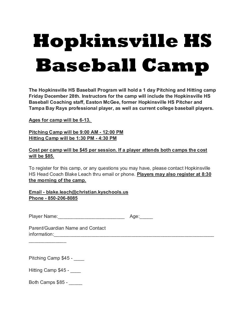 Hopkinsville High School Baseball Camp Whop 1230 Am News Radio