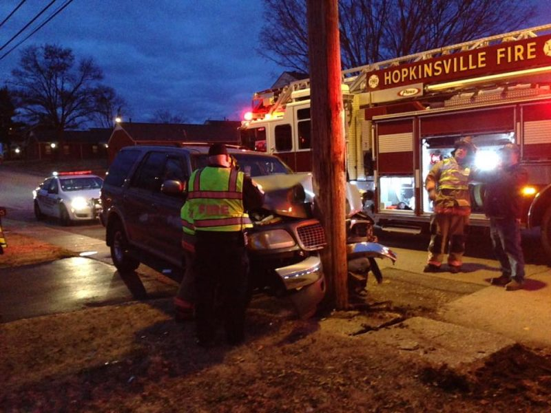 Woman injured after vehicle hits pole