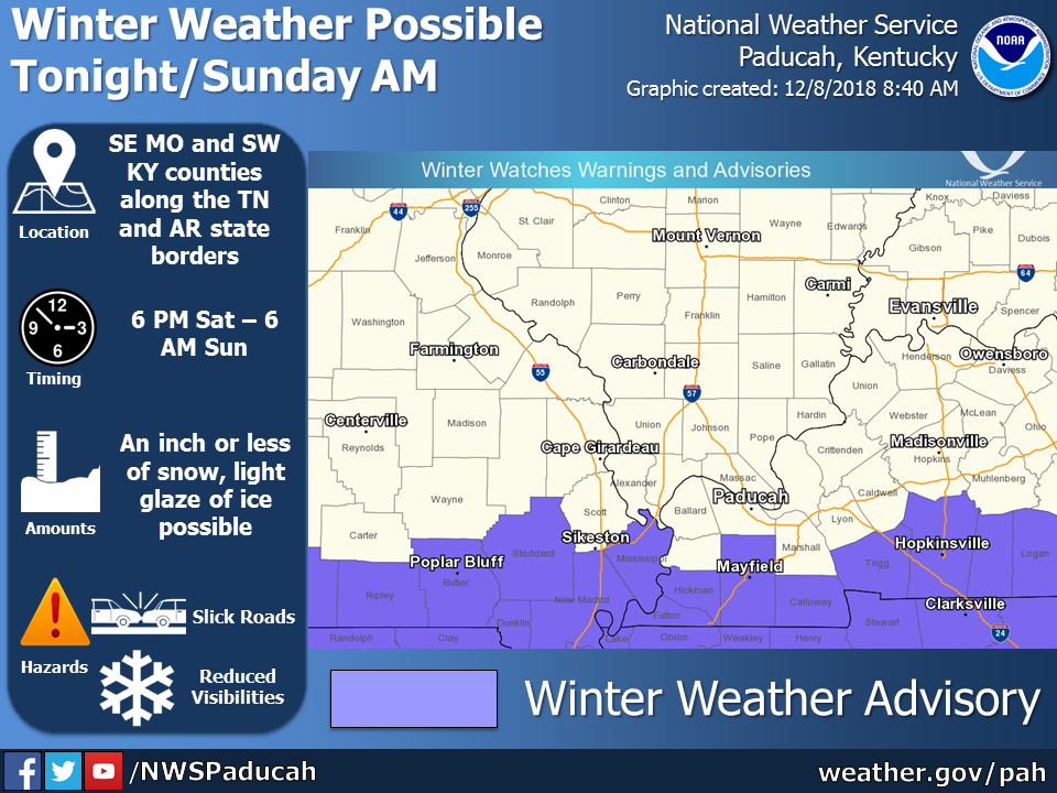 Winter Weather Advisory from 6 p.m. Saturday until 6 a.m. Sunday