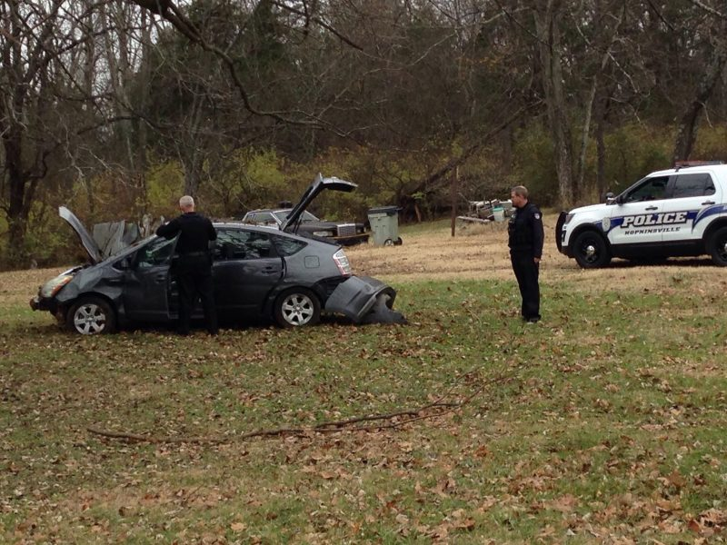 Suspect located after crashing stolen car on Dawson Springs Road