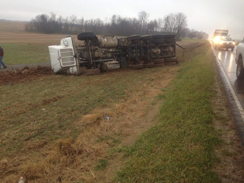 Man injured when dump truck overturns in Todd County
