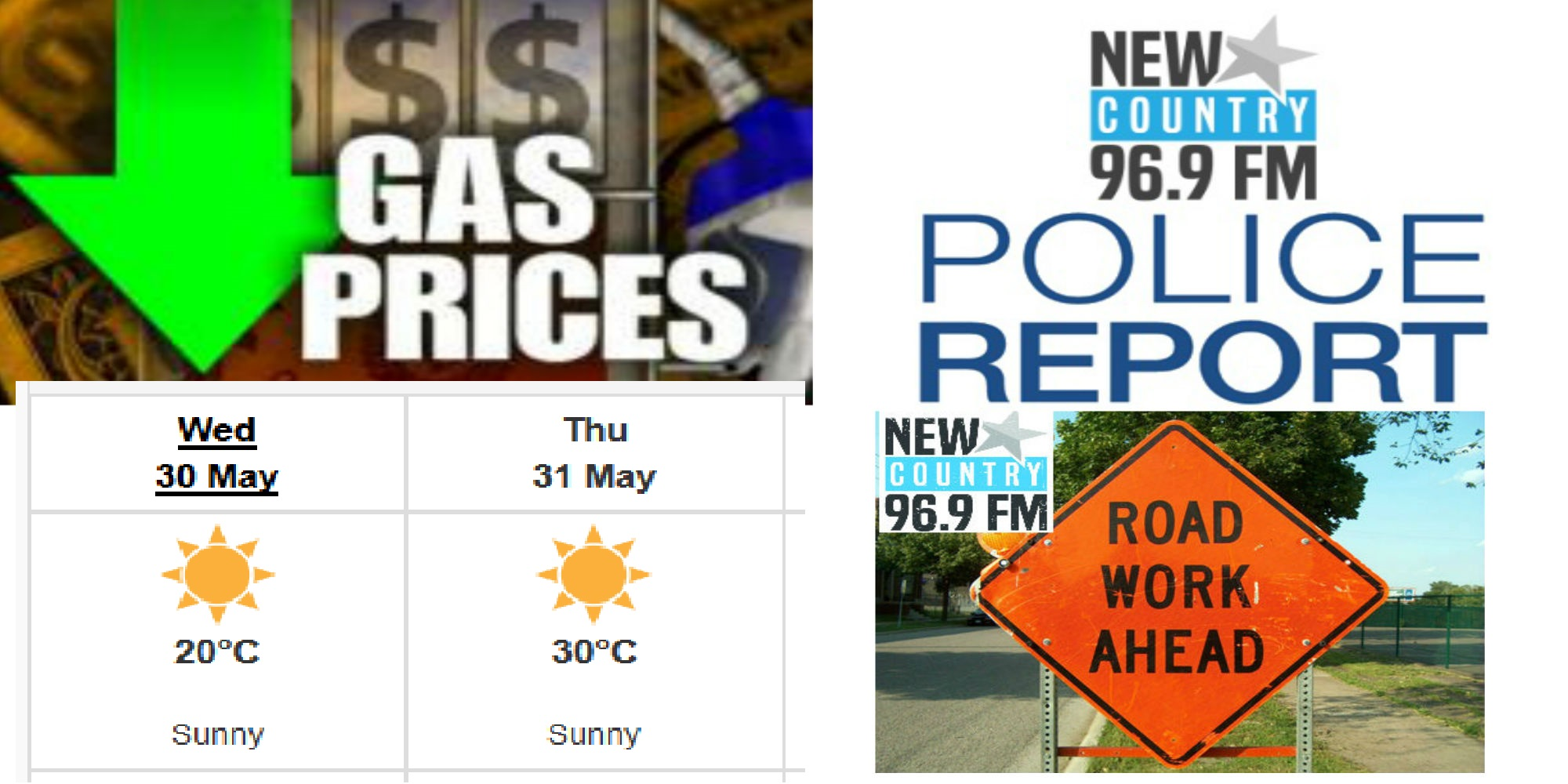 #WhatsTrending - Wednesday, May 30th - Sunny & 20 today...sunny and 30 tomorrow! / Gas prices DROPPING? / Police in Northern NB hand out 138 tickets in TWO DAYS! / Moncton Traffic: Work on Connaught Ave today / Stanley Cup Finals game #2 tonight