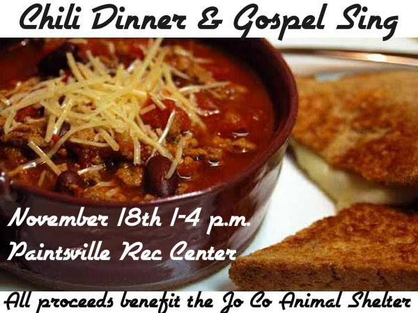 Chili Dinner & Gospel Sing to Benefit Johnson County Animal Shelter