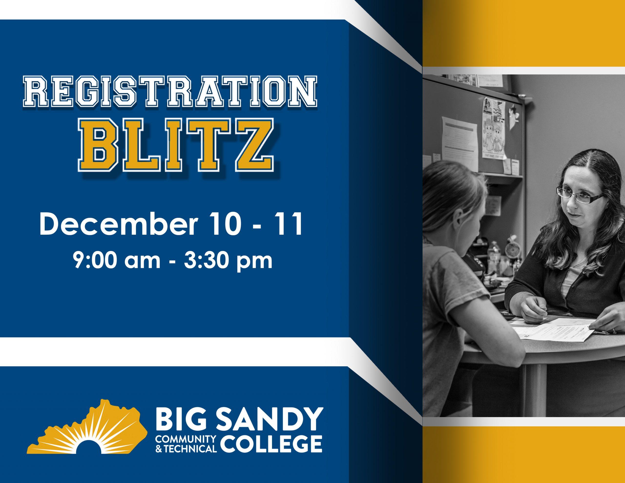 BSCTC Registration Blitz Set for December 11, 12