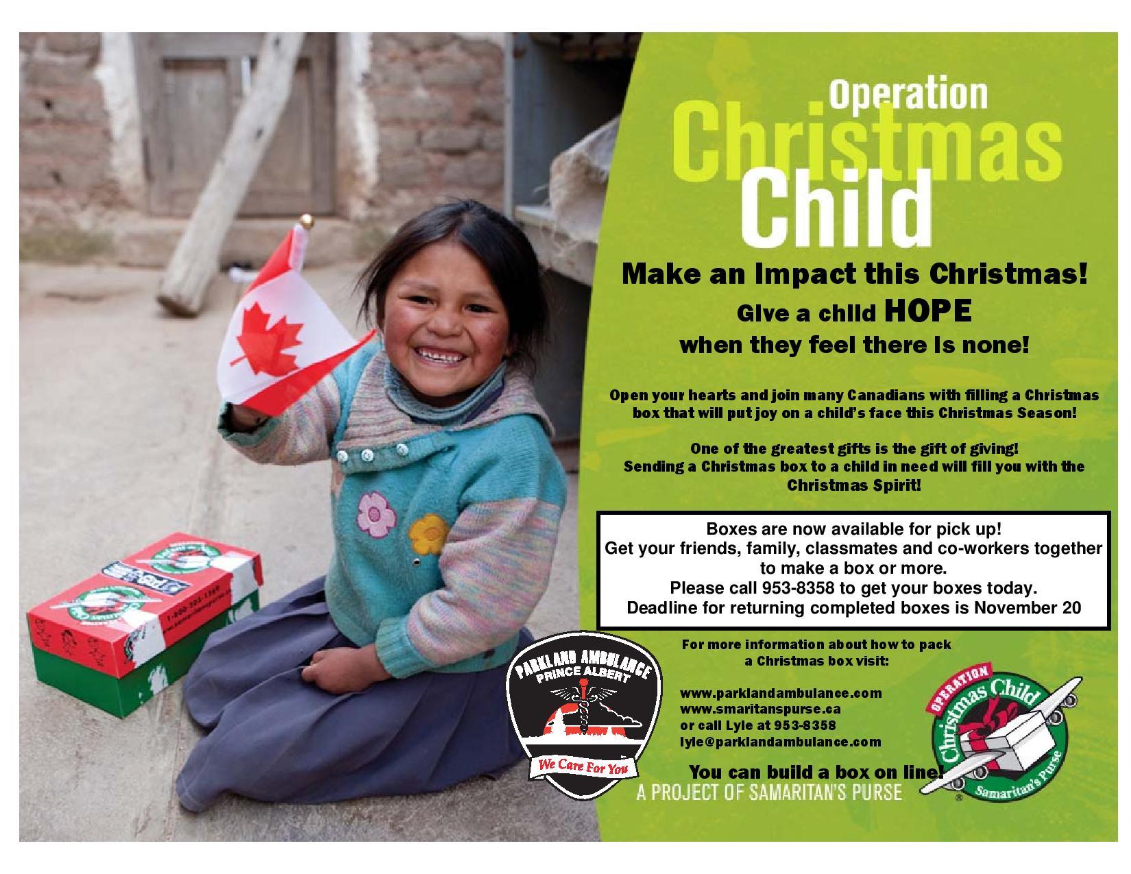 Operation Christmas Child 2019 Flyer.Operation Christmas Child Panow Prince Albert