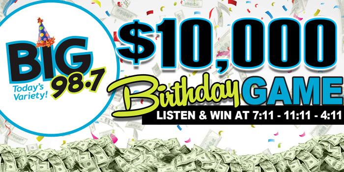Feature: https://www.big987.com/big-98-7-10000-birthday-game/