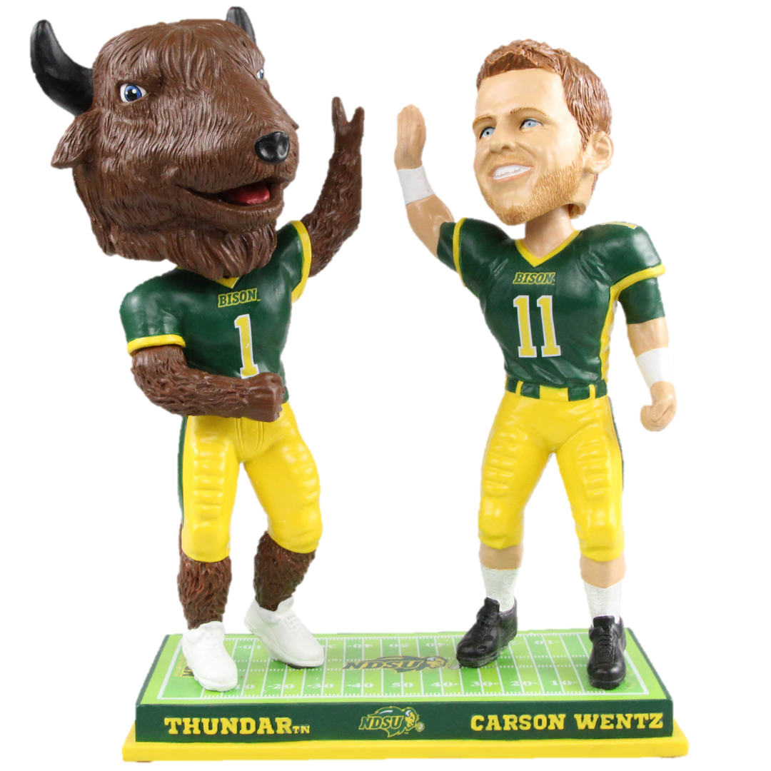 Carson Wentz and Thundar High-Fiving Bobblehead included in first-of-its-kind series now available from the National Bobblehead Hall of Fame and Museum.
