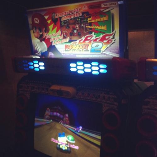 Baseball Stadium's Big Screen Hosts Giant 'Mario Kart' Game!