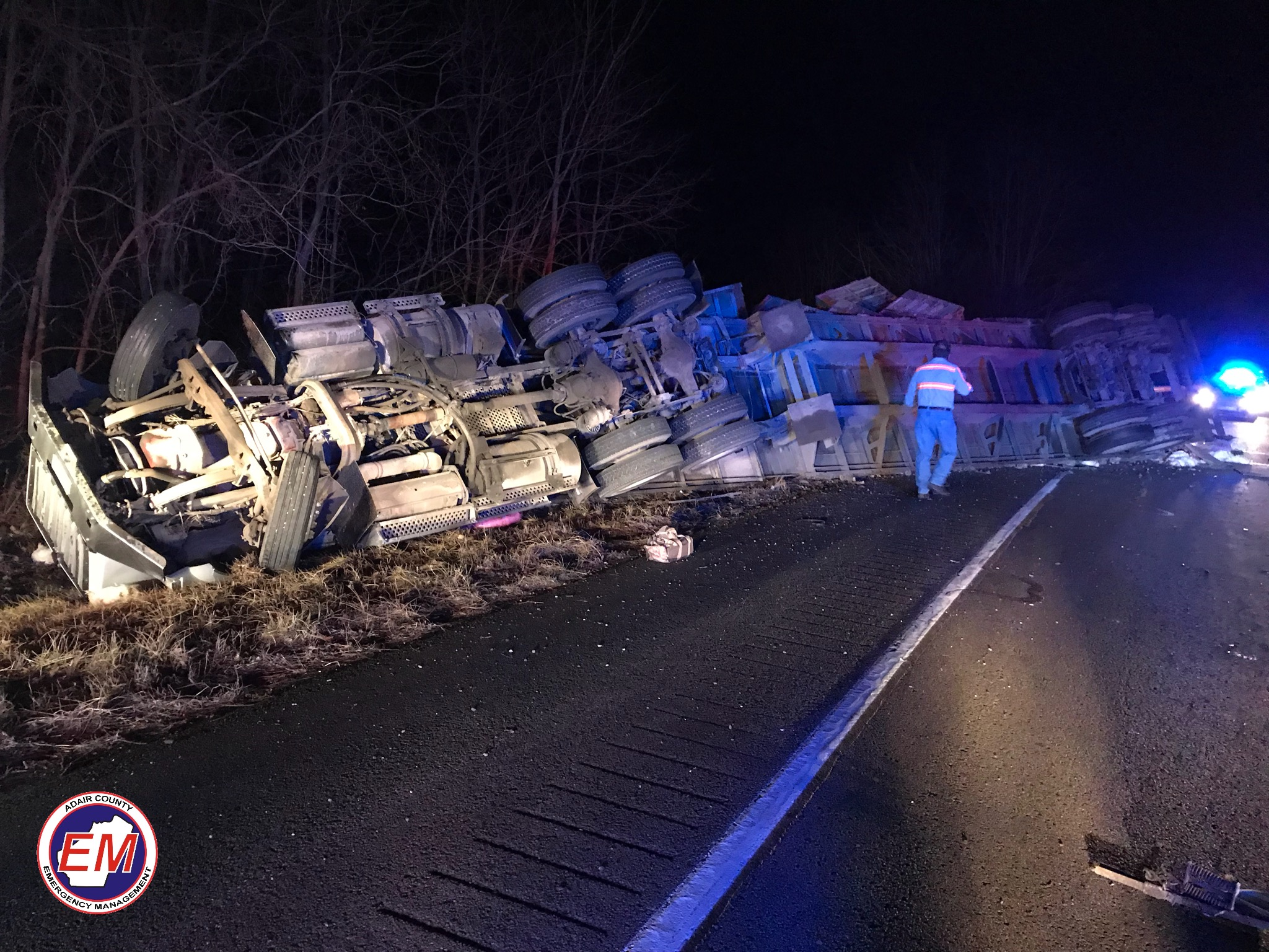 Overturned Semi On South 61 In Breeding Community