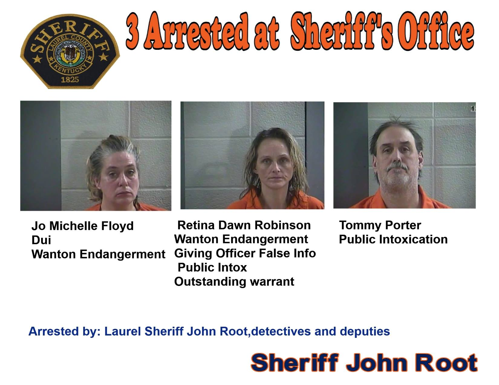 Three People Arrested After Driving Under The Influence To Sheriff's Office