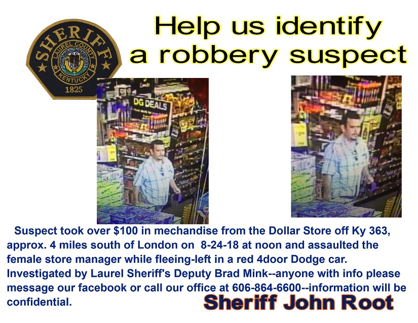 Laurel County Police Looking For Robbery Suspect