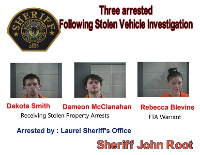 Laurel County Police Recover Stolen Vehicle And Arrest Three