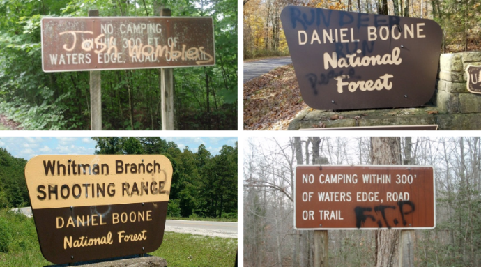 Officials Reporting Sign Vandalism In Daniel Boone Forest