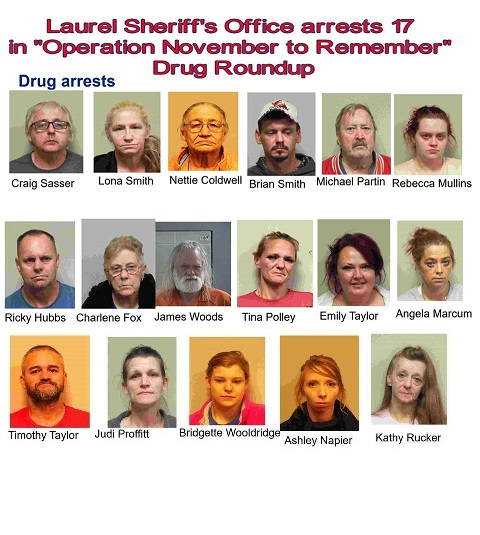 """Laurel County Police Make 17 Arrests In """"November To Remember"""" Drug Roundup"""