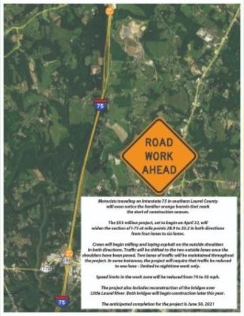 Construction On I-75 In Laurel County To Start Soon ... on m-24 road map, i-70 road map, i-72 road map, i-90 road map, i-94 road map, us 31 road map, michigan to florida road map, i-15 road map, i-80 road map, i-25 road map, i-40 road map, central florida toll road map, interstate 75 map, i-65 road map, interstate 5 road map, i-57 road map, i 75 michigan map, i 5 road map, i-20 road map, i 75 route map,