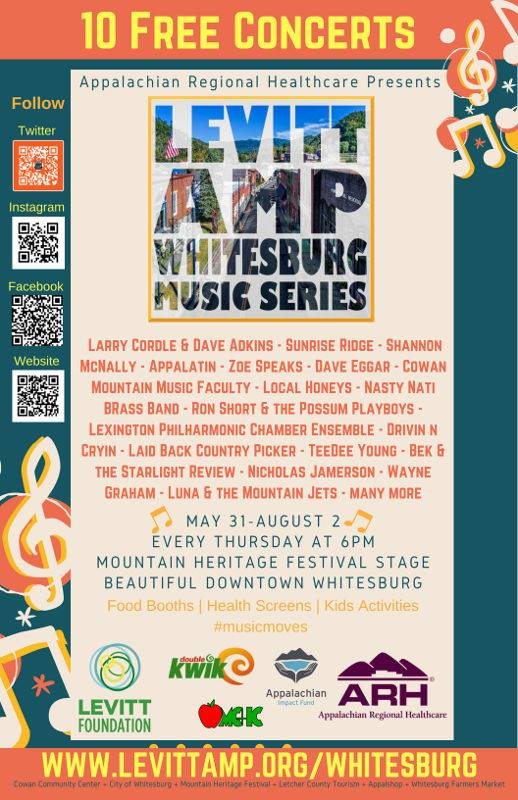 Levitt Amp Music Series in downtown Whitesburg is going on through August 2nd