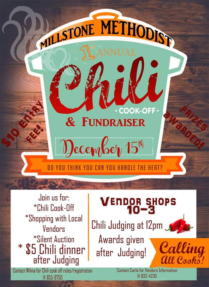 Millstone Methodist Church chili cook off & vendor event happening on December 15th