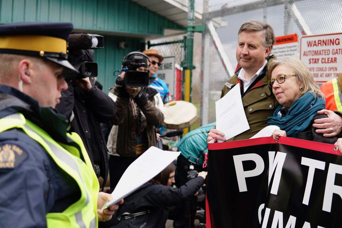 Green Party Leader Elizabeth May arrested at a Burnaby protest against the Trans Mountain pipeline expansion