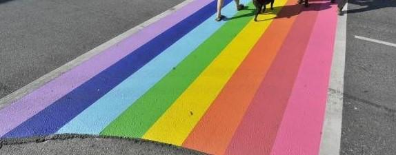 Two rainbow crosswalks dedicated today at the Kamloops Airport