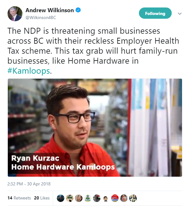 BC Liberal online ad critical of BCNDP government features Kamloops business