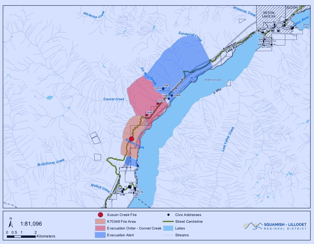Evacuation orders issued for Highline Road homes near Lillooet