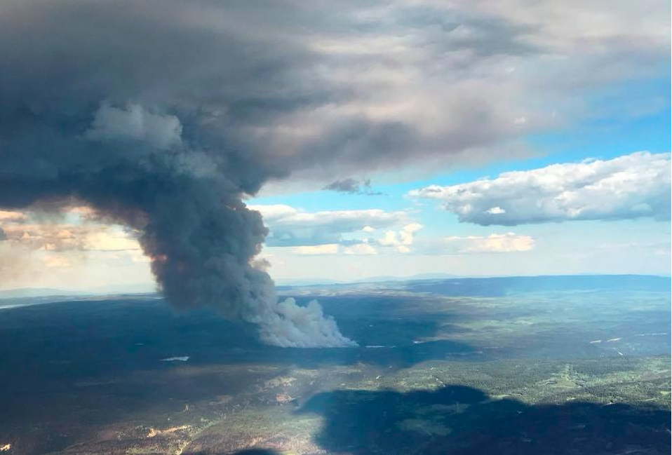 The wildfire burning near Kamloops has again exploded in size