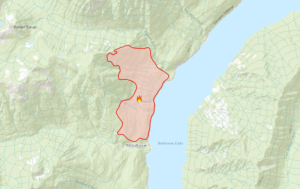 B.C Wildfire Service says they've made progress on the Xusum Creek blaze
